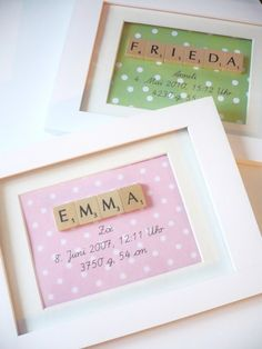 Birth memorabilia - with Scrabble letters