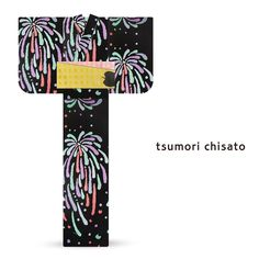 2016 Summer tsumori chisato Yukata Colorful Fireworks Black