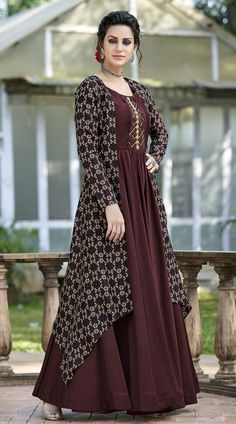 Maroon Tussar Silk Printed Gown - Apparelsnyou: Online Shopping Site For Men, Women, Accessories, Shoes & Lifestyle Designer Anarkali Dresses, Designer Party Wear Dresses, Kurti Designs Party Wear, Indian Designer Outfits, Designer Gowns, Dress Neck Designs, Designs For Dresses, Stylish Dress Designs, Stylish Dresses
