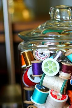 storage, vintage thread spools