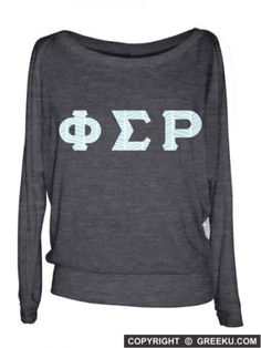 Phi Sigma Rho Off the Shoulder Flowy Long Sleeve Shirt with Sewn-On Letters