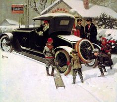 """Advertisement for Fisk Tires"" - by Norman Rockwell, American) Norman Rockwell Prints, Norman Rockwell Paintings, Illustrations Vintage, Illustration Art, Christmas Art, Vintage Christmas, Christmas Images, White Christmas, The Saturdays"