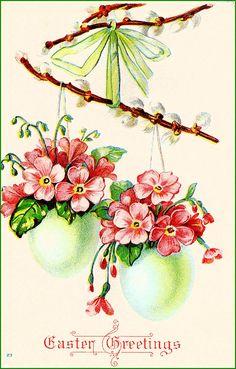 #Easter #antique #postcard #egg #1908