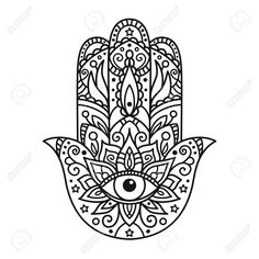 Illustration of Vector illustration. Black and white coloring with hamsa vector art, clipart and stock vectors. Hamsa Hand Tattoo, Hand Tattoos, Hamsa Art, Mandala Tattoo, Body Art Tattoos, Script Tattoos, Arabic Tattoos, Flower Tattoos, Hamsa Design