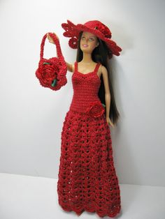 Barbie in her Christmas dress. Outfit Only, hand crocheted dress, hat , purse…