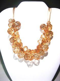 Elegant champagne Glass bead  necklace   by TYHandmadeCrafts, $19.99