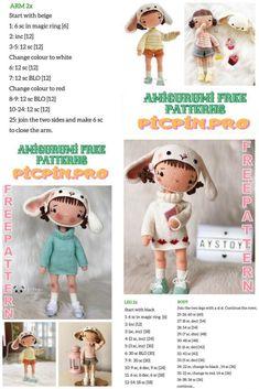 Crochet Doll Pattern, Crochet Toys, Crochet Patterns Amigurumi, Free Crochet, Crochet World, Amigurumi Doll, Crochet For Kids, Doll Patterns, Free Pattern