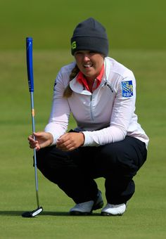 Brooke Henderson Photos Photos - Brooke Henderson of Canada lines up a putt during the First Round of the Ricoh Women's British Open at Turnberry Golf Club on July 30, 2015 in Turnberry, Scotland. - Ricoh Women's British Open - Day One