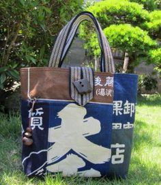 前掛け バッグ: 古布の手作り品&Japanese BORO 着物リメイク藍