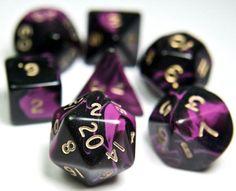 RPG Dice Set (Oblivion Purple Black) role playing game dice + bag