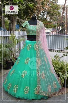 Make this bridal season more special with this gorgeous lehenga. They can customize the color and size as per your requirement. To Order :WhatsApp 9010906544 20 February 2018 Indian Wedding Gowns, Lehenga Wedding, Party Wear Lehenga, Indian Gowns, Party Wear Dresses, Bridal Dresses, Half Saree Lehenga, Lehnga Dress, Indian Lehenga