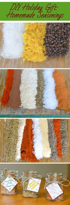 DIY Holiday: Homemade Seasonings. Easy and delicious seasoning mixes are the perfect gift. Lemon Pepper, Caribbean Jerk, and Rajin' Cajun recipes