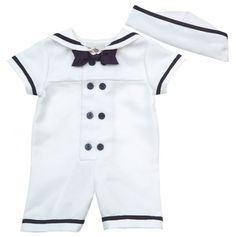 Newborn Double Breasted Sailor Romper and Hat - Anchors Away: Apparel - Events