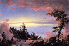 Frederic Edwin Church -   Above the Clouds at Sunrise. In the earlier years of his career, Church's style was incredibly reminiscent of that of his teacher, Thomas Cole, and epitomized the Hudson River School's founding styles.