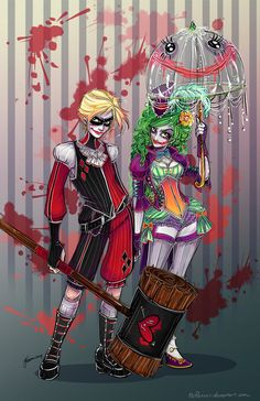 The Mad Love Art Print -unique look at the Joker and Harley Quinn. Artist Jennifer Vaiano AKA NoFlutter