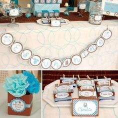 blue chocolate brown little prince baby shower