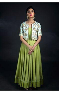Nallamz By Archana Nallam, Shadow Green floor length anarkali. Salwar Designs, Kurta Designs Women, Kurti Neck Designs, Kurti Designs Party Wear, Saree Blouse Designs, Latest Kurti Designs, Indian Designer Outfits, Designer Dresses, Indian Outfits