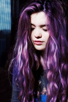 tumblr hair | purple | dyed | wavy | long | gorgeous | hair |