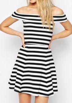 Black-White Striped Print Mini Dress