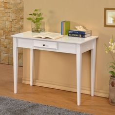 William's Home Furnishing Bodai White 1-drawer Desk