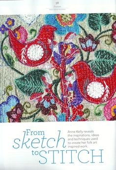 'From Sketch to Stitch' article in 'Stitch' magazine about my folk art influences, October 2014 by Anne Kelly Textiles