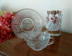 17 Vintage Ornate Tea Cup and Saucer Sets in Beaded Clear