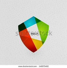 Colorful protection shield vector paper design concept - stock vector