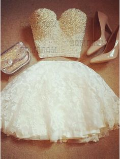 Two Piece homecoming dresses, Sweetheart White Lace Homecoming Dress with Pearls, two piece short prom dresses with pearls , white lace hoco dresses
