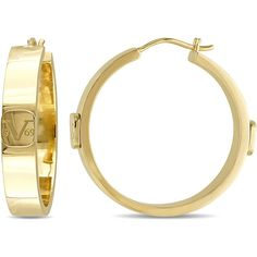Versace 19.69 Abbigliamento Sportivo SRL 18k Yellow Gold Plated... ($200) ❤ liked on Polyvore featuring jewelry, earrings, yellow, gold hoop earrings, hoop earrings, sterling silver earrings, 18k gold earrings and 18k earrings
