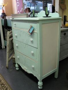 """From the blog """"Vintage Shabby Chicks,"""" taken at an antique store, another nice example of painting a piece of furniture two colors."""