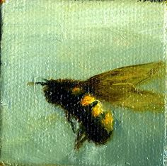 Bee, oil on canvas  painting by Giselle Gautreau  www.gisellesart.com