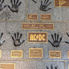Visited the famed Guitar Centre in Hollywood. A must for music fans. Every great guitarist has their hand imprint and signature in the tiles in from of the store. Like this ACDC.. Amazing