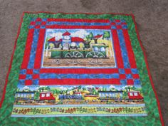 Arriving at the Station Train Quilt by QuiltsbySusan on Etsy, $110.00