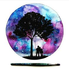 cute couple on swing under tree, galaxy sky painting in a circle – Today Pin – Galaxy Art Sky Painting, Galaxy Painting, Galaxy Art, Painting & Drawing, Couple Painting, Art Inspo, Painting Inspiration, Tatoo Compass, Art Galaxie