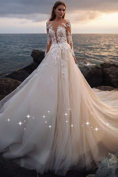Stunning Tulle Sheer Bateau Neckline A-line Wedding Dress With Beaded Lace Appliques