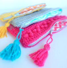 Tunisian crochet pouch