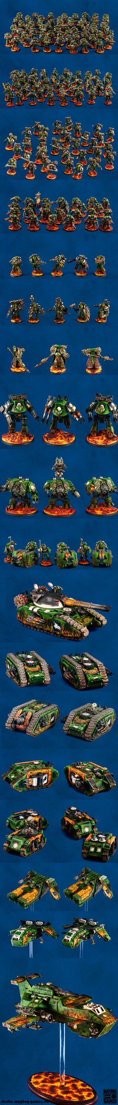Warhammer 40k: Space Marines. INCREDIBLE, entire LEGION of Salamanders Space Marines. Pre-Heresy no less! The amount of time and energy that went into this is incredible - and terrifying
