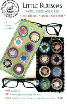 Little Blossoms Wool Eyeglass Case--download PDF pattern