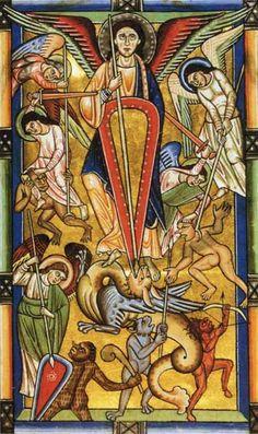 Archangel Michael in miniature on parchment from the Stammheim Missal, c. 1170.