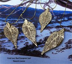 Real Evergreen  Leaf Necklaces, 24K Gold or Sterling Silver - Bridal Wedding Party. $42.95, via Etsy.