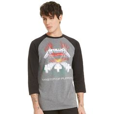 Metallica Master Of Puppets Raglan Hot Topic ($27) ❤ liked on Polyvore featuring tops, raglan sleeve top, raglan top and twist top