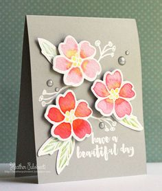 Essentials by Ellen | Just Because, Thinking of You Card, Heat Embossing, DIstress Inks, Watercolor, Flowers, Shades of Pink, Green, Gray