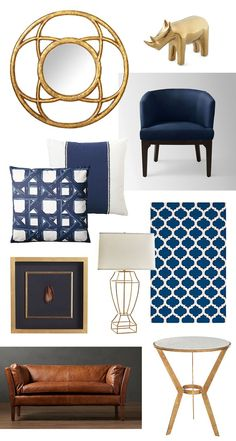 navy and gold home decor