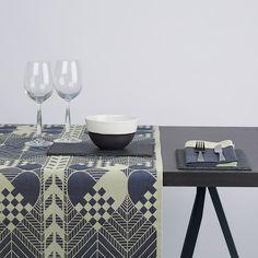 JULELØBER. Christmas table runner, tablecloth and placemats in blue/white. 1975 design by Bodil Bødtker-Naess still made at Georg Jensen Damask, Denmark.