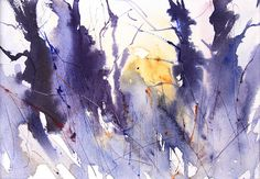 Winter Trees,December. semi abstract watercolour by Adrian Homersham http://adrianhomersham.co.uk/