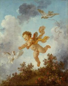 Jean-Honoré Fragonard (French 1732–1806) [Rococco] The Progress of Love: Love Pursuing a Dove, 1791.