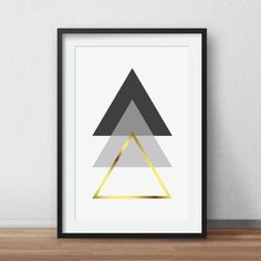 Geometric Print Black and White Scandinavian Art Gold