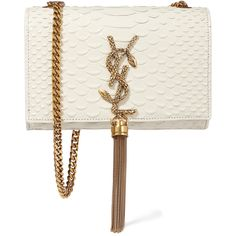 Saint Laurent Monogramme small snake-effect leather shoulder bag ($1,990) ❤ liked on Polyvore featuring bags, handbags, shoulder bags, saint laurent, clutches, borse, white, chain shoulder bag, genuine leather handbags and white shoulder bag