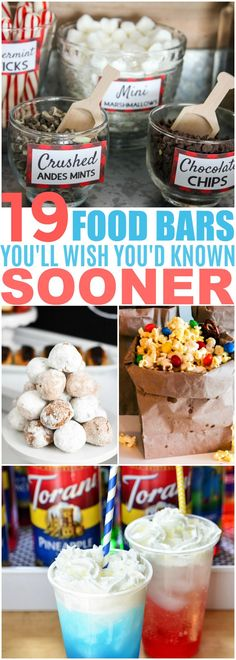 These 19 DIY Food Bar Ideas Are PERFECT For Your Next Party! I love all the ideas for appetizers, main courses, desserts and snacks!