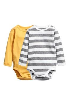 c934769a26 2-pack long-sleeved bodysuits - Yellow - Kids